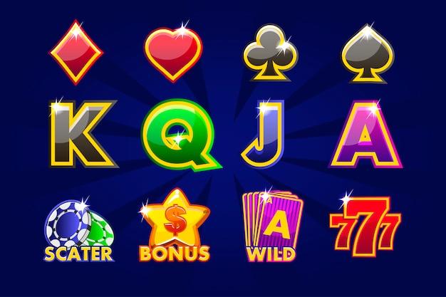 Icone di gioco di simboli di carte per slot machine o casinò. casinò di gioco, slot, interfaccia utente Vettore Premium