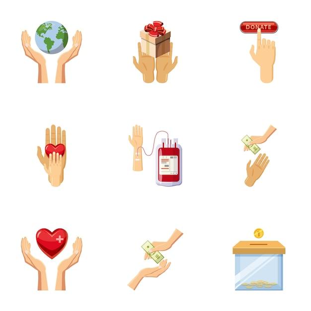 Icone di giorno del donatore mondiale messe, stile del fumetto Vettore Premium