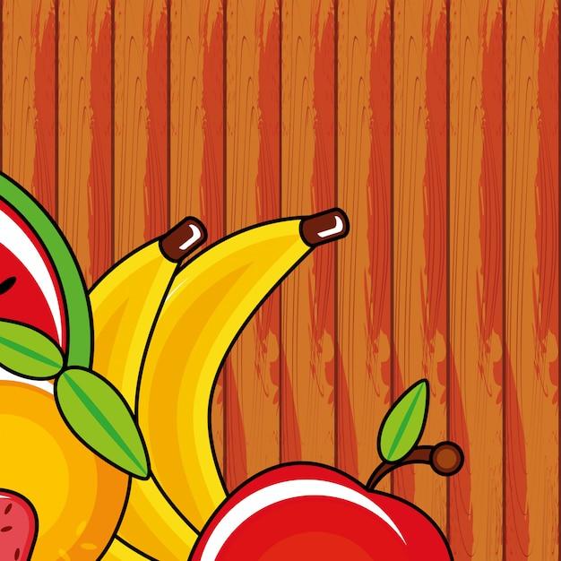 Icone di gruppo di frutta fresca Vettore Premium