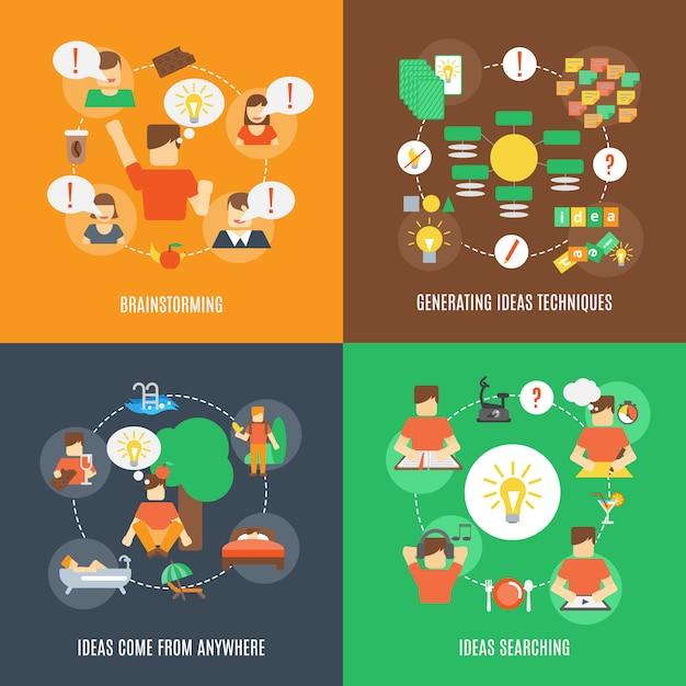 Icone di idee piatte Vettore Premium