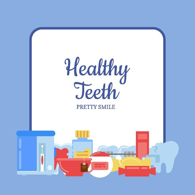 Icone di igiene dei denti di stile piano mucchio sotto telaio con posto per illustrazione del testo Vettore Premium
