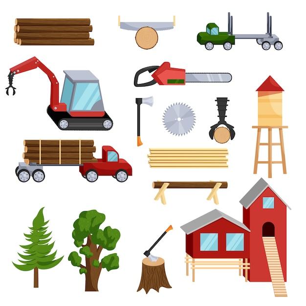 Icone di industria del legname messe, stile del fumetto Vettore Premium