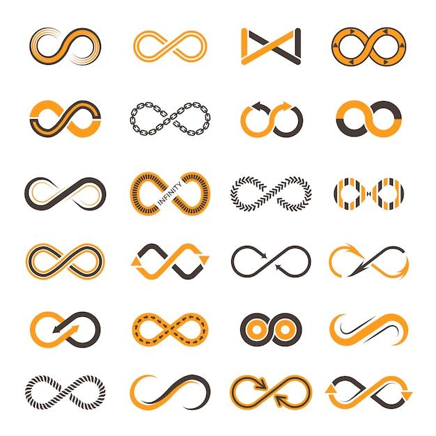 Icone di infinito. forme contornanti di simboli di due colori di eternità vettoriale Vettore Premium