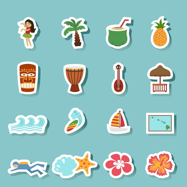 Icone di isola e spiaggia tropicale hawaii Vettore Premium