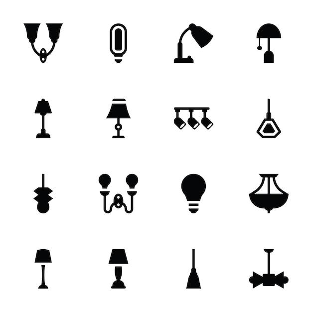 Icone di lampade e luci da parete Vettore Premium