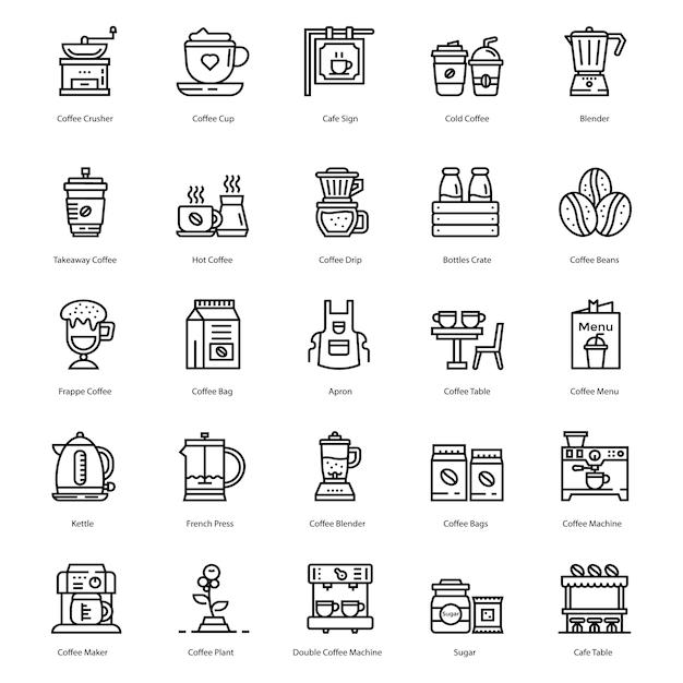 Icone di linea di caffetteria Vettore Premium