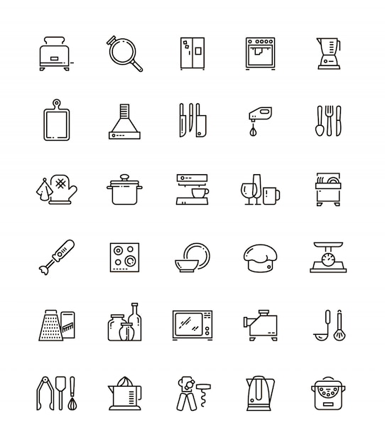 Icone di linea di cucina, utensili da cucina ed elettrodomestici. Vettore Premium