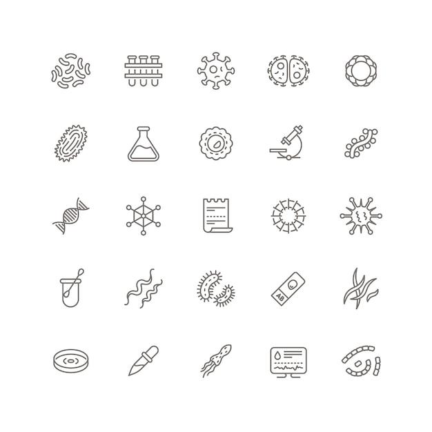 Icone di linea di microbi di contagio, virus influenzale e microrganismi Vettore Premium