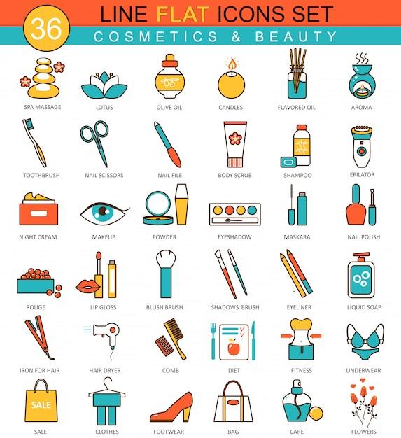 Icone di linea piatta di bellezza e cosmetici Vettore Premium