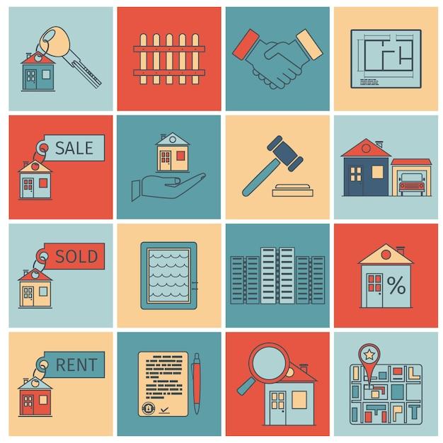 Icone di linea piatta immobiliare Vettore Premium