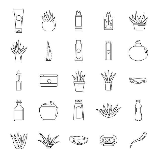 Icone di logo della pianta della vera dell'aloe impostate Vettore Premium