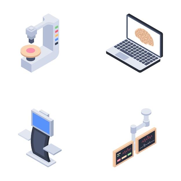 Icone di macchine diagnostiche Vettore Premium
