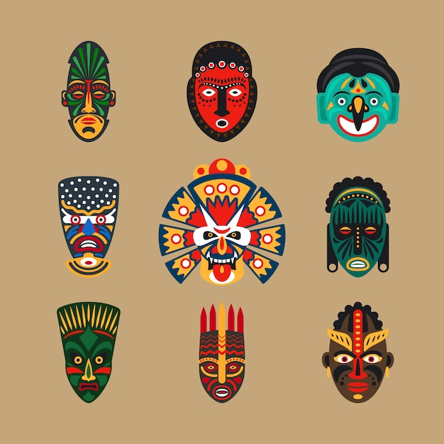 Icone di maschera etnica Vettore Premium