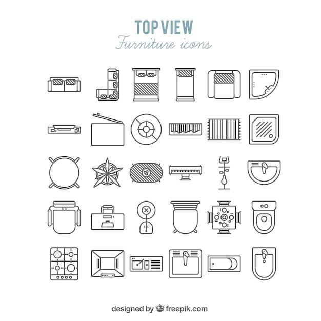 Icone di mobili in vista dall'alto Vettore gratuito