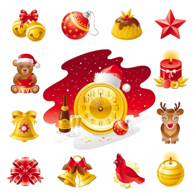 Icone di natale. set vacanza con orsetto, torta, uccello cardinale, renne, cappello da babbo natale, decorazioni natalizie. Vettore Premium