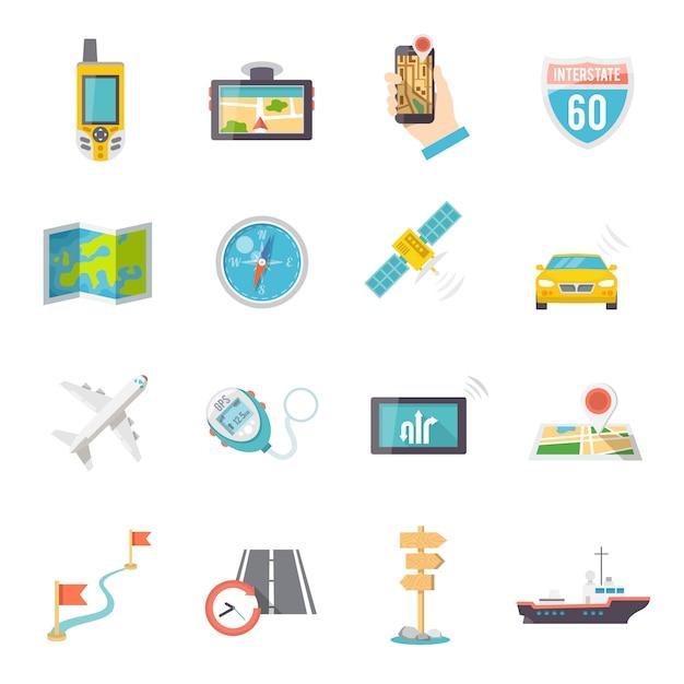 Icone di navigazione piatte Vettore gratuito