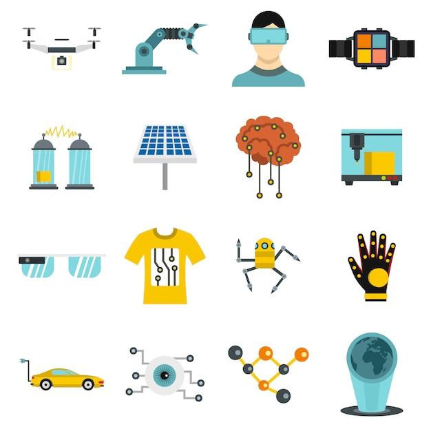 Icone di nuove tecnologie impostate in stile piano Vettore Premium