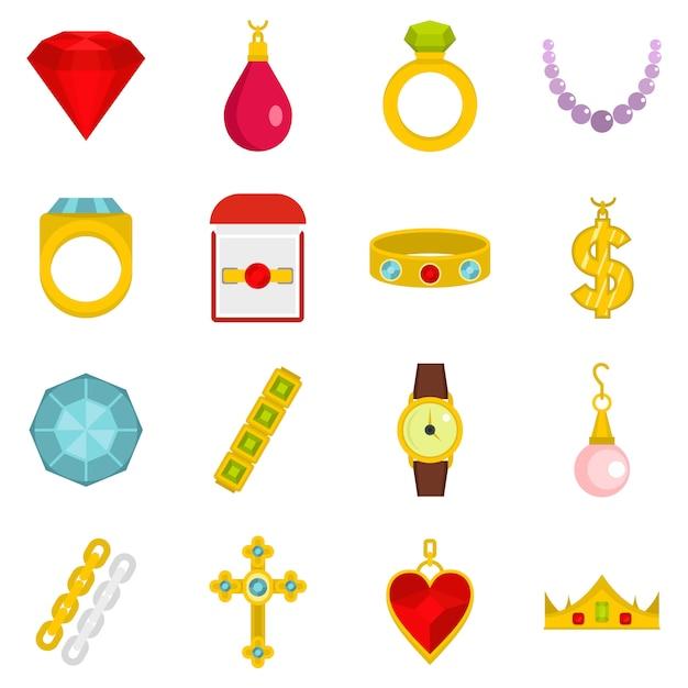 Icone di oggetti di gioielli impostato in stile piano Vettore Premium