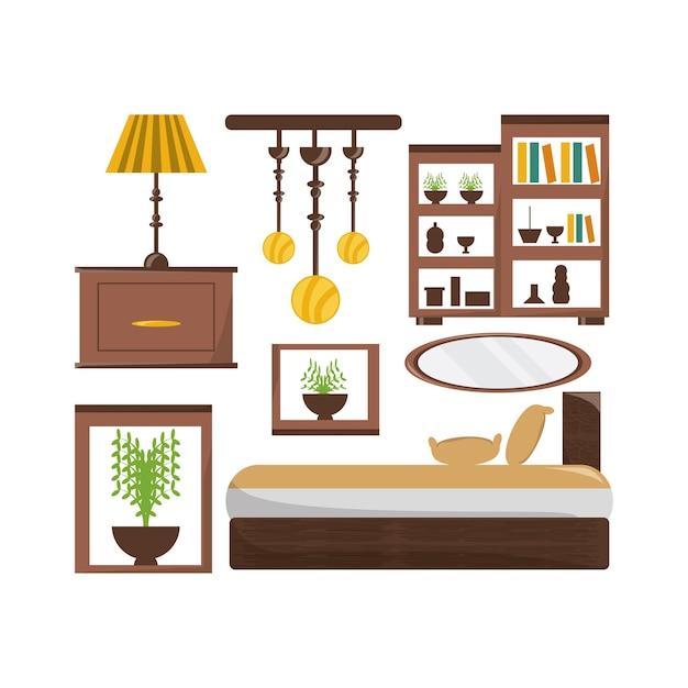 Icone di oggetti mobili camera da letto | Scaricare vettori Premium