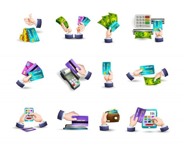 Icone di pagamento con carta di credito mani impostate Vettore gratuito