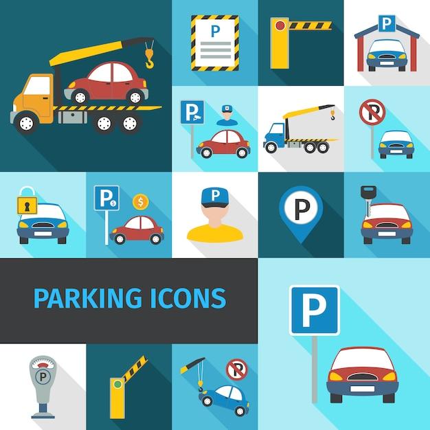 Icone di parcheggio piatte Vettore gratuito