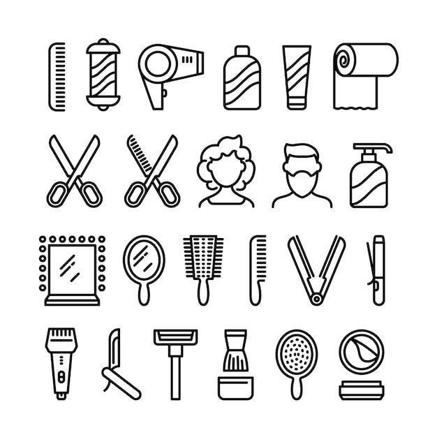 Icone di parrucchiere. bei simboli di linea di vettore di taglio di capelli e acconciatura Vettore Premium