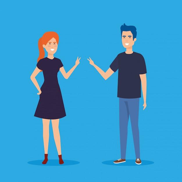 Icone di personaggi avatar coppia Vettore gratuito