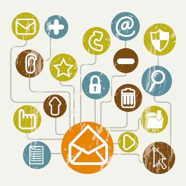 Icone di posta elettronica sopra illustrazione vettoriale sfondo beige Vettore Premium