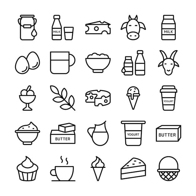 Icone di prodotti agricoli e prodotti lattiero-caseari Vettore Premium