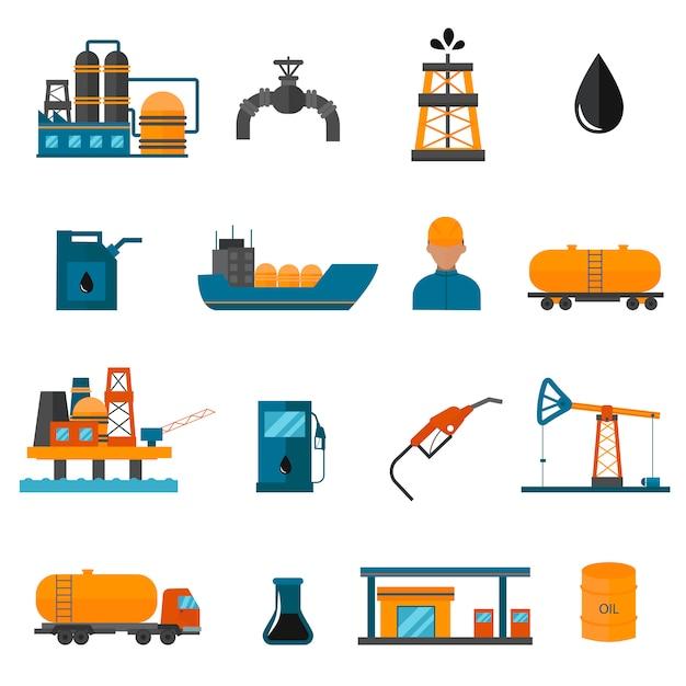 Icone di produzione industria petrolifera per infografica. Vettore Premium