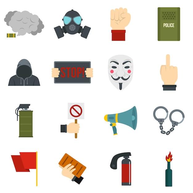 Icone di protesta impostate in stile piano Vettore Premium