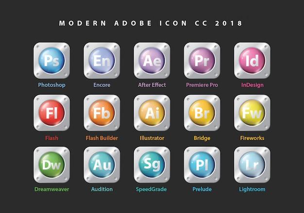 Icone di raccolta adobe Vettore Premium