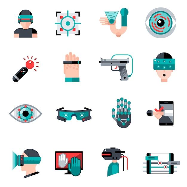 Icone di realtà aumentata virtuale Vettore gratuito