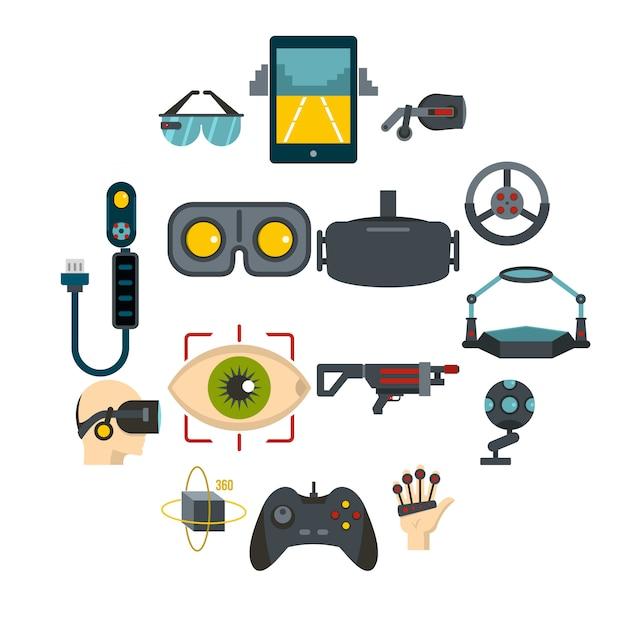 Icone di realtà virtuale impostate in stile piano Vettore Premium