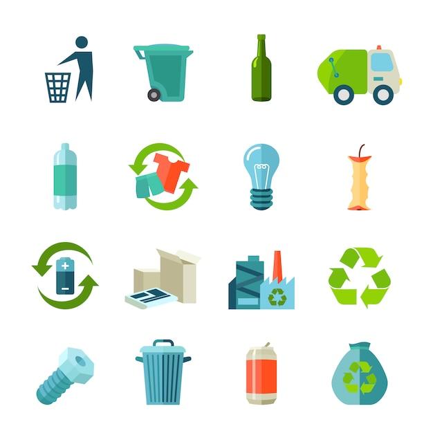 Icone di riciclaggio impostate con tipi di rifiuti e raccolta piatta Vettore gratuito