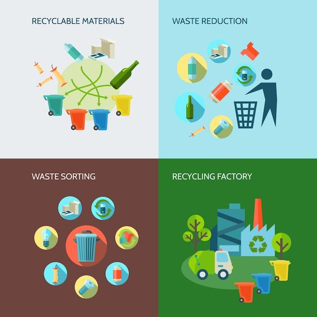 Icone di riduzione del riciclaggio e dei rifiuti con materiali e ordinamento piatto Vettore gratuito