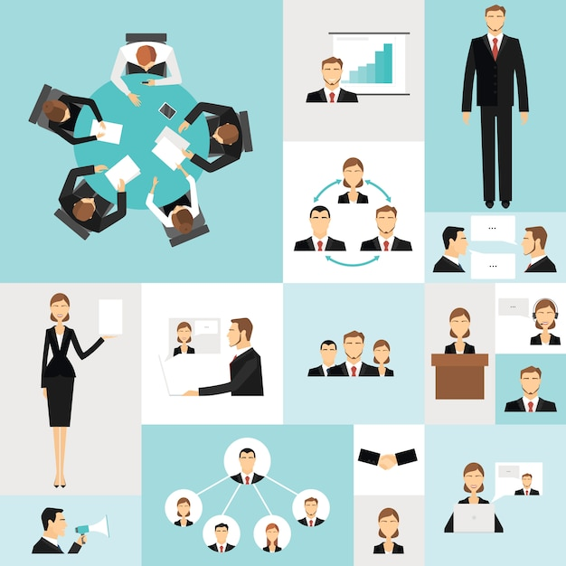 Icone di riunione d'affari Vettore gratuito