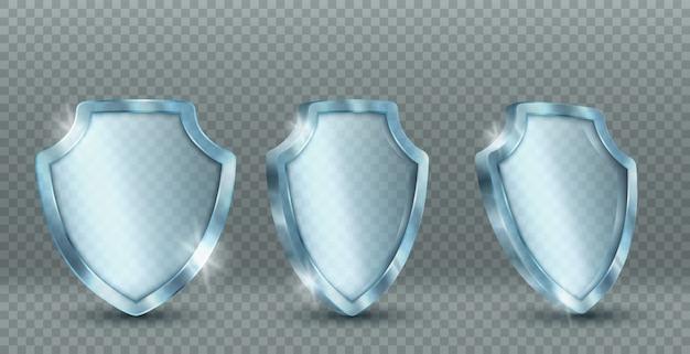 Icone di scudo di vetro trasparente Vettore gratuito