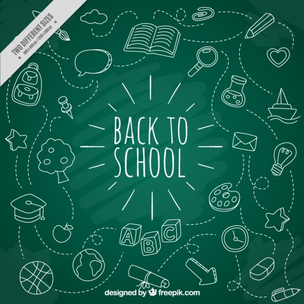 icone di scuola bianco con sfondo lavagna Vettore gratuito
