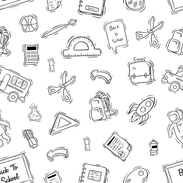 Icone di scuola carino in seamless con stile disegnato a mano Vettore Premium