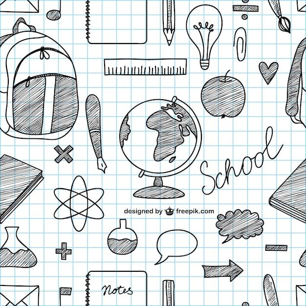 Icone di scuola disegnati a mano vettore Vettore gratuito