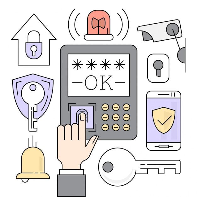 Icone di sicurezza lineare Vettore gratuito