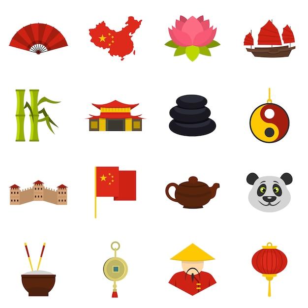 Icone di simboli di viaggio cina impostato in stile piano Vettore Premium