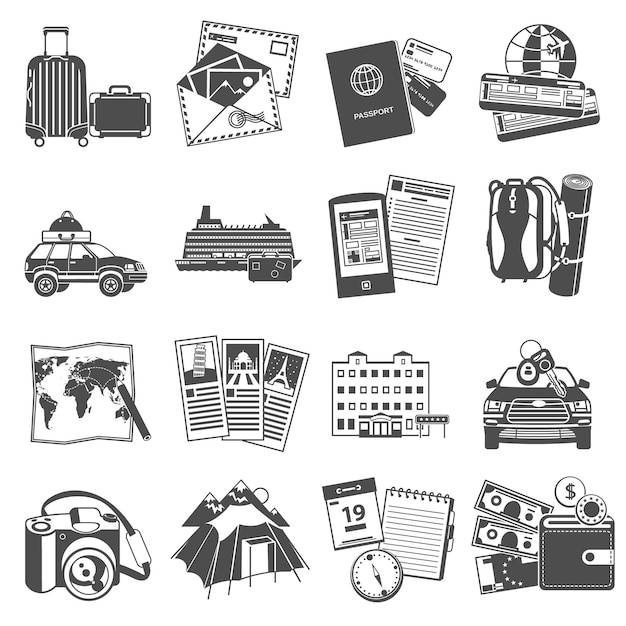Icone di simboli di viaggio di vacanze estive impostate Vettore gratuito