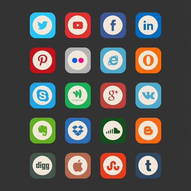 Icone di social media d'epoca Vettore gratuito