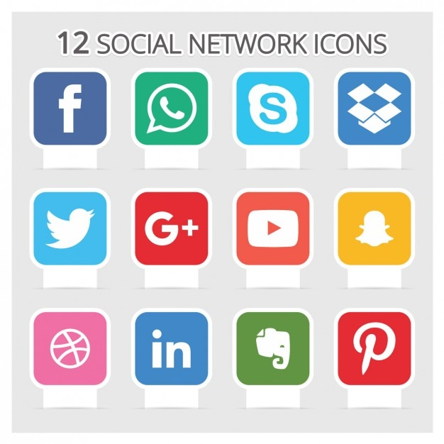 Icone di social network Vettore gratuito