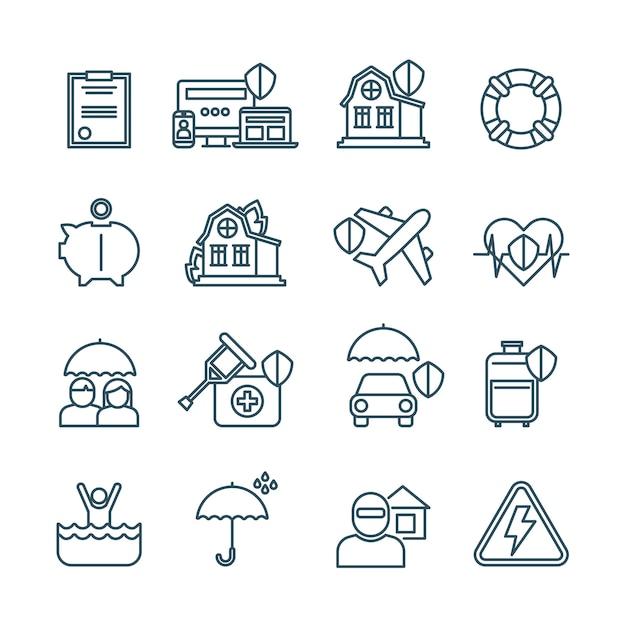 Icone di sottile linea di assicurazione vita, casa e auto Vettore Premium