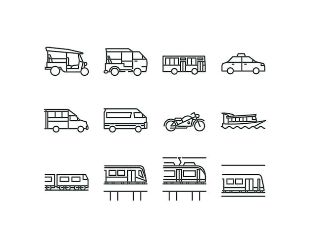 Icone di stile di design piatto lineare di trasporti pubblici di bangkok. Vettore Premium
