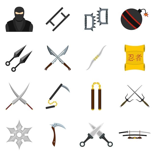 Icone di strumenti ninja impostato in stile piano Vettore Premium