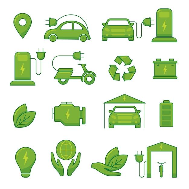 Icone di tecnologia di eco di verde di vettore dell'automobile elettrica per l'illustrazione del veicolo automatico di trasporto Vettore Premium